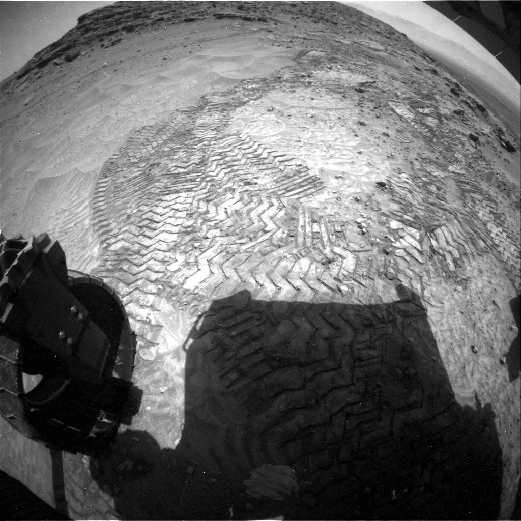 NASA's Mars rover Curiosity acquired this image using its Rear Hazard Avoidance Cameras (Rear Hazcams) on Sol 1049