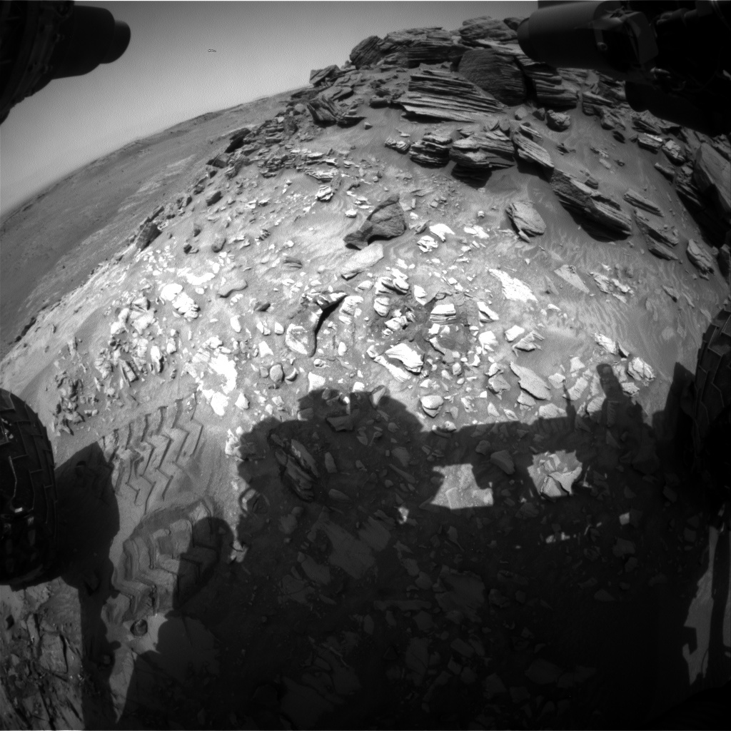 Nasa's Mars rover Curiosity acquired this image using its Front Hazard Avoidance Camera (Front Hazcam) on Sol 1053, at drive 2518, site number 48