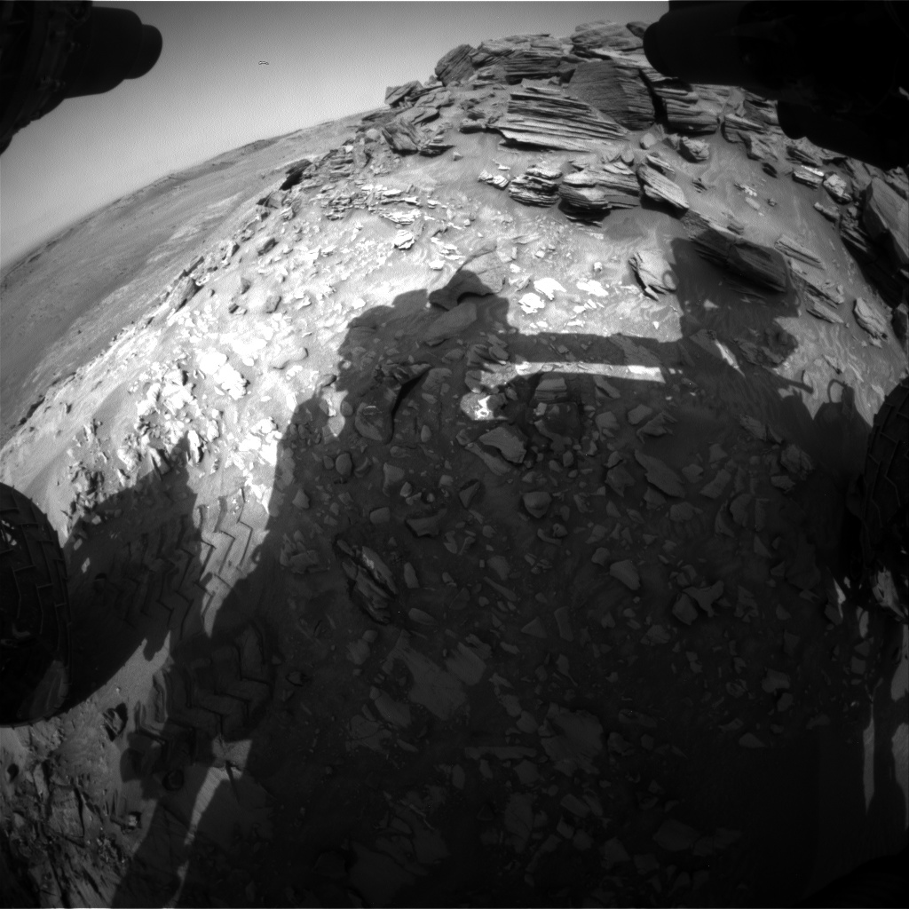 Nasa's Mars rover Curiosity acquired this image using its Front Hazard Avoidance Camera (Front Hazcam) on Sol 1054, at drive 2518, site number 48