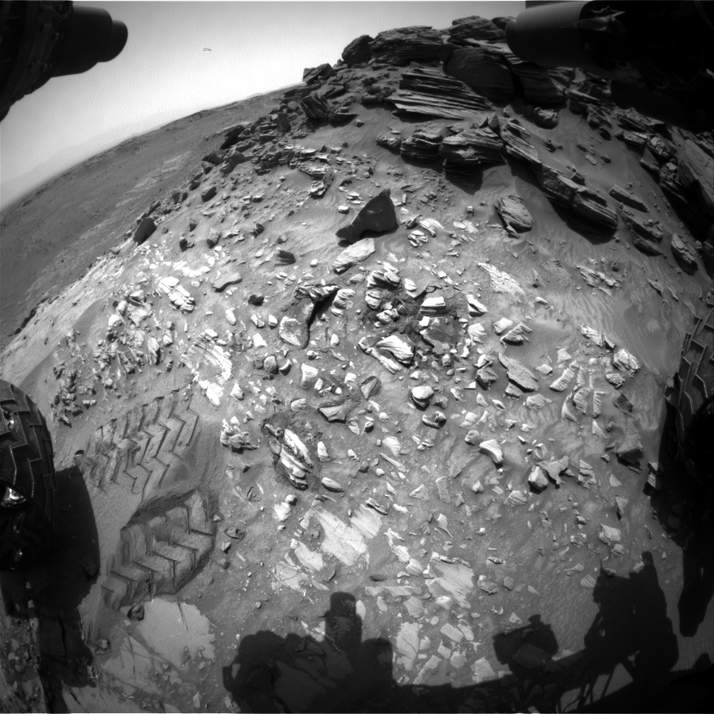 Nasa's Mars rover Curiosity acquired this image using its Front Hazard Avoidance Camera (Front Hazcam) on Sol 1055, at drive 2518, site number 48