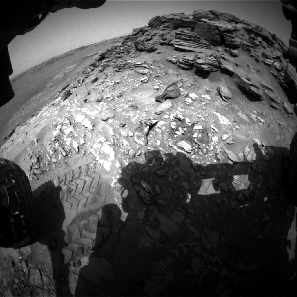 NASA's Mars rover Curiosity acquired this image using its Front Hazard Avoidance Cameras (Front Hazcams) on Sol 1056