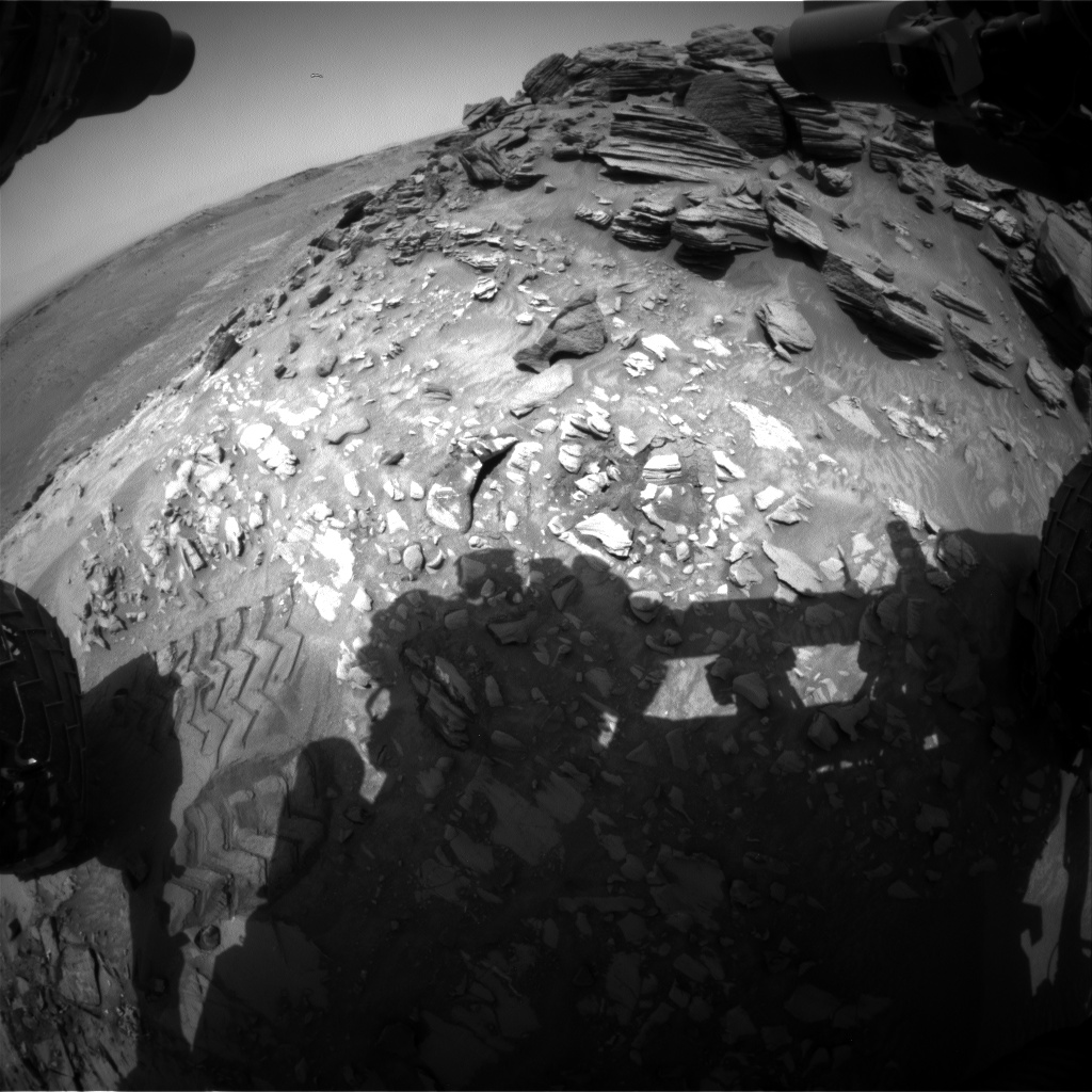 Nasa's Mars rover Curiosity acquired this image using its Front Hazard Avoidance Camera (Front Hazcam) on Sol 1056, at drive 2518, site number 48