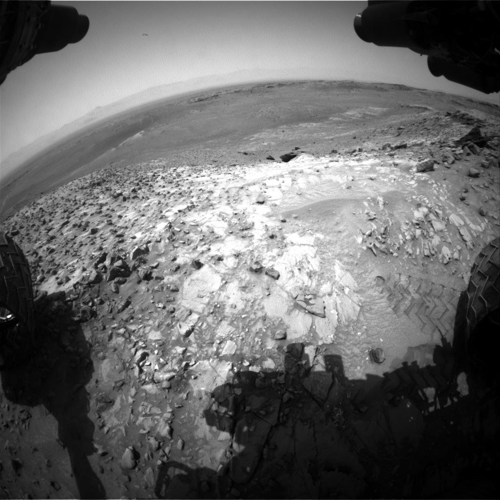 Nasa's Mars rover Curiosity acquired this image using its Front Hazard Avoidance Camera (Front Hazcam) on Sol 1056, at drive 2530, site number 48