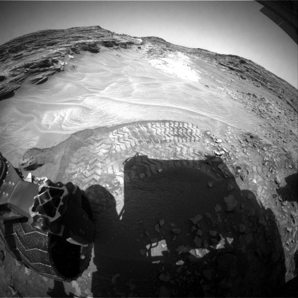 NASA's Mars rover Curiosity acquired this image using its Rear Hazard Avoidance Cameras (Rear Hazcams) on Sol 1060