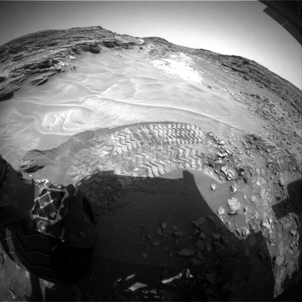 NASA's Mars rover Curiosity acquired this image using its Rear Hazard Avoidance Cameras (Rear Hazcams) on Sol 1062