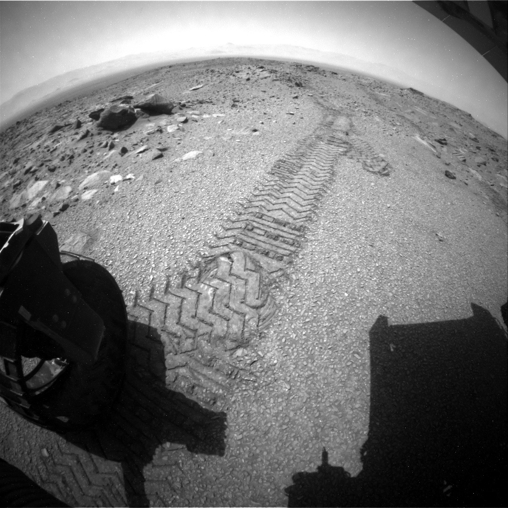NASA's Mars rover Curiosity acquired this image using its Rear Hazard Avoidance Cameras (Rear Hazcams) on Sol 1076