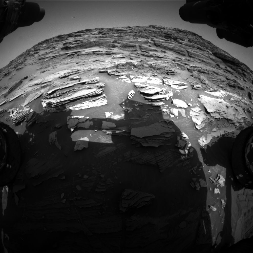 Nasa's Mars rover Curiosity acquired this image using its Front Hazard Avoidance Camera (Front Hazcam) on Sol 1087, at drive 1876, site number 49