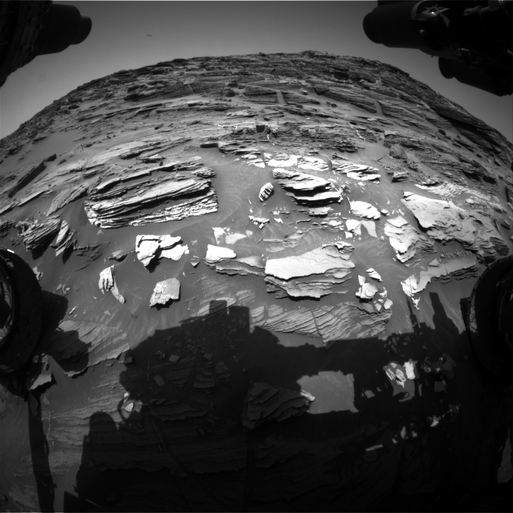 Nasa's Mars rover Curiosity acquired this image using its Front Hazard Avoidance Camera (Front Hazcam) on Sol 1088, at drive 1876, site number 49