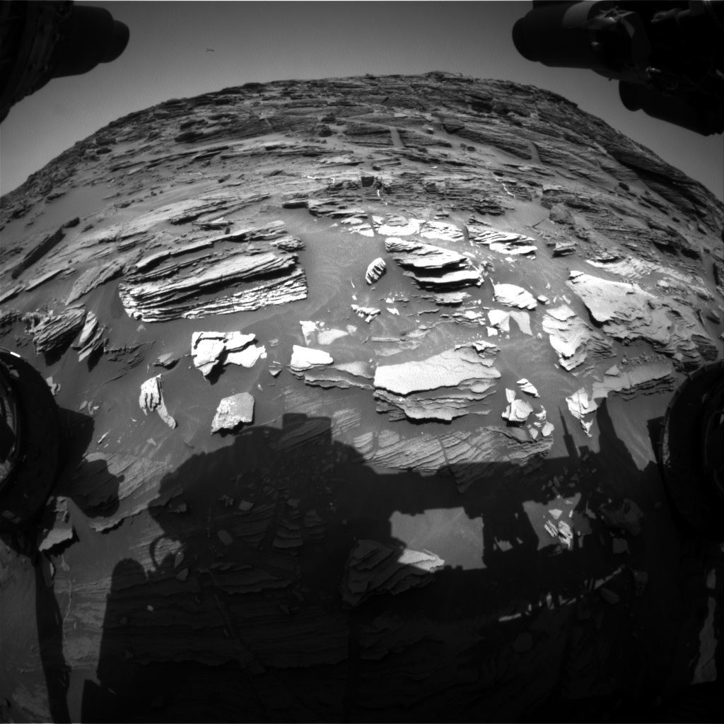 Nasa's Mars rover Curiosity acquired this image using its Front Hazard Avoidance Camera (Front Hazcam) on Sol 1089, at drive 1876, site number 49