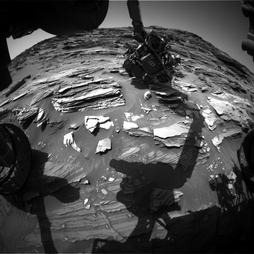 Nasa's Mars rover Curiosity acquired this image using its Front Hazard Avoidance Camera (Front Hazcam) on Sol 1093, at drive 1876, site number 49