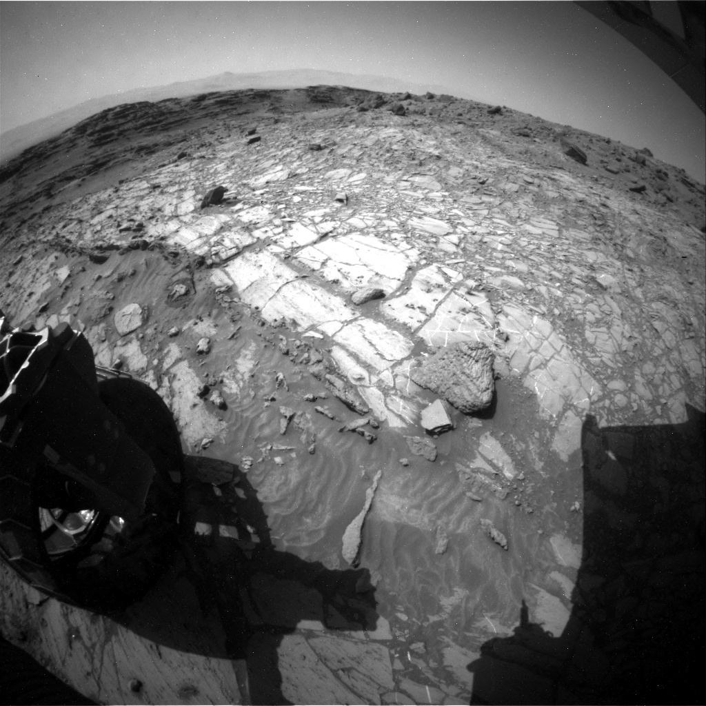 NASA's Mars rover Curiosity acquired this image using its Rear Hazard Avoidance Cameras (Rear Hazcams) on Sol 1104