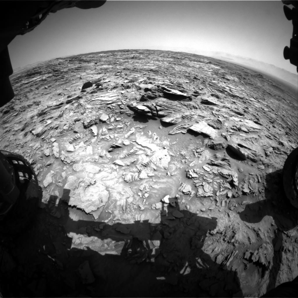 NASA's Mars rover Curiosity acquired this image using its Front Hazard Avoidance Cameras (Front Hazcams) on Sol 1106
