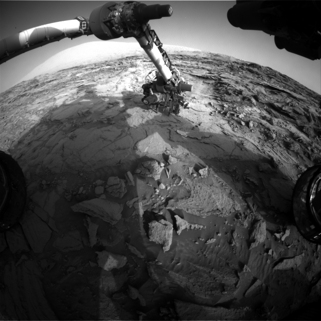 Nasa's Mars rover Curiosity acquired this image using its Front Hazard Avoidance Camera (Front Hazcam) on Sol 1114, at drive 592, site number 50