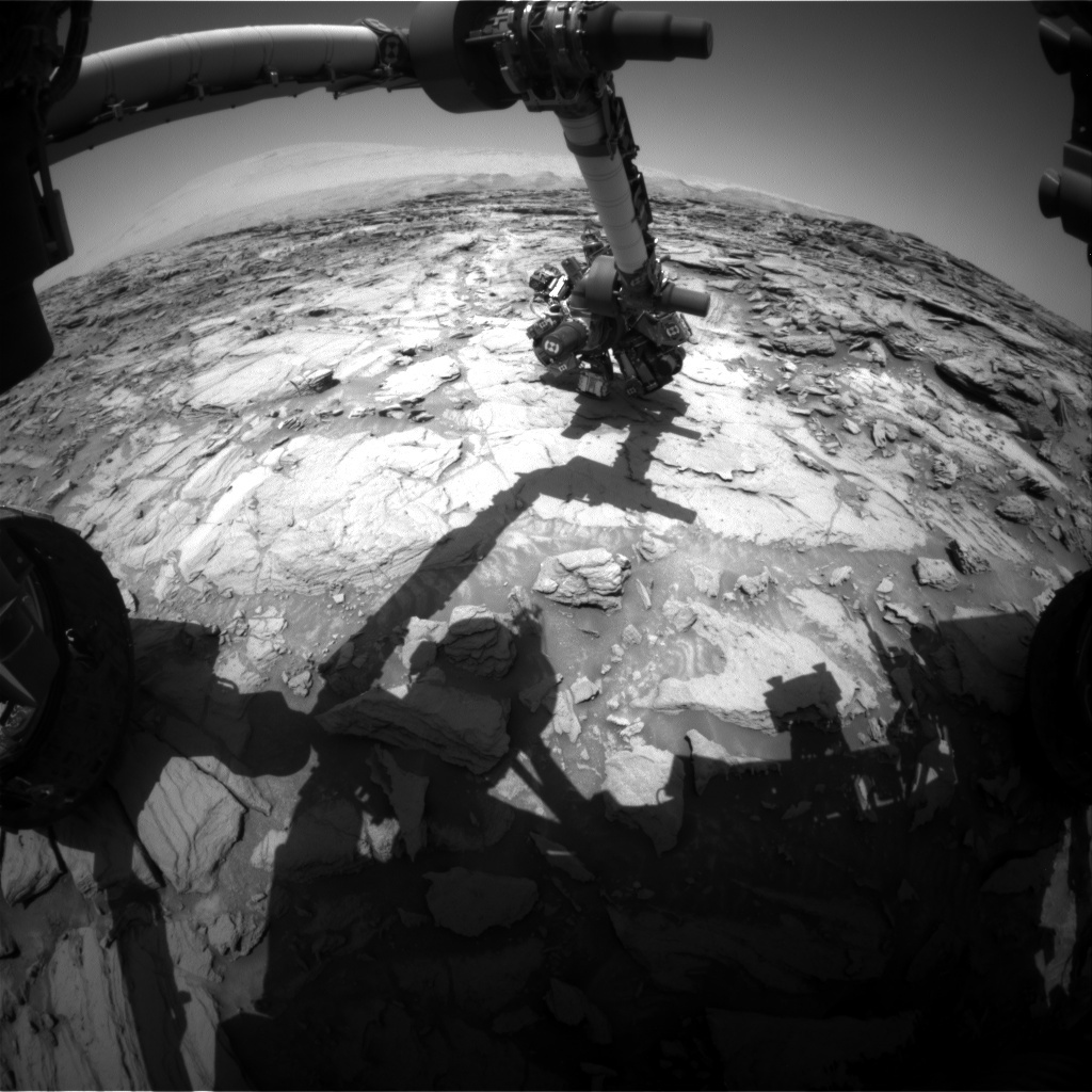 NASA's Mars rover Curiosity acquired this image using its Front Hazard Avoidance Cameras (Front Hazcams) on Sol 1115