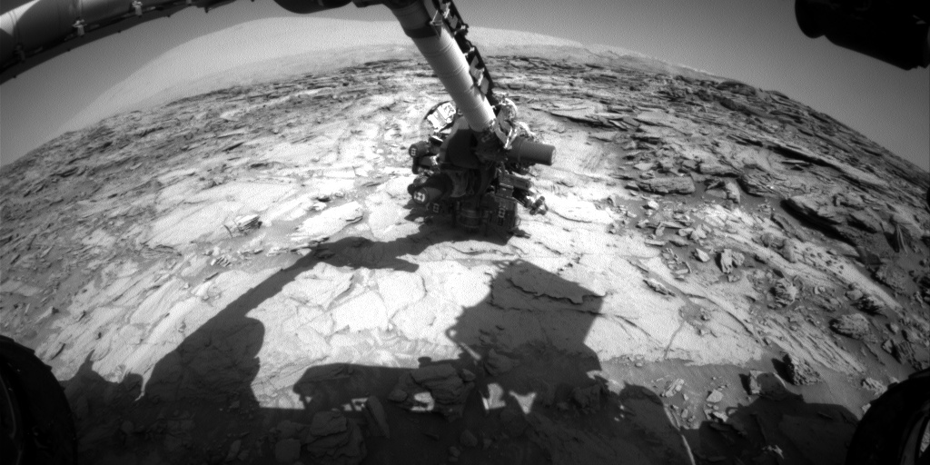 Nasa's Mars rover Curiosity acquired this image using its Front Hazard Avoidance Camera (Front Hazcam) on Sol 1119, at drive 592, site number 50