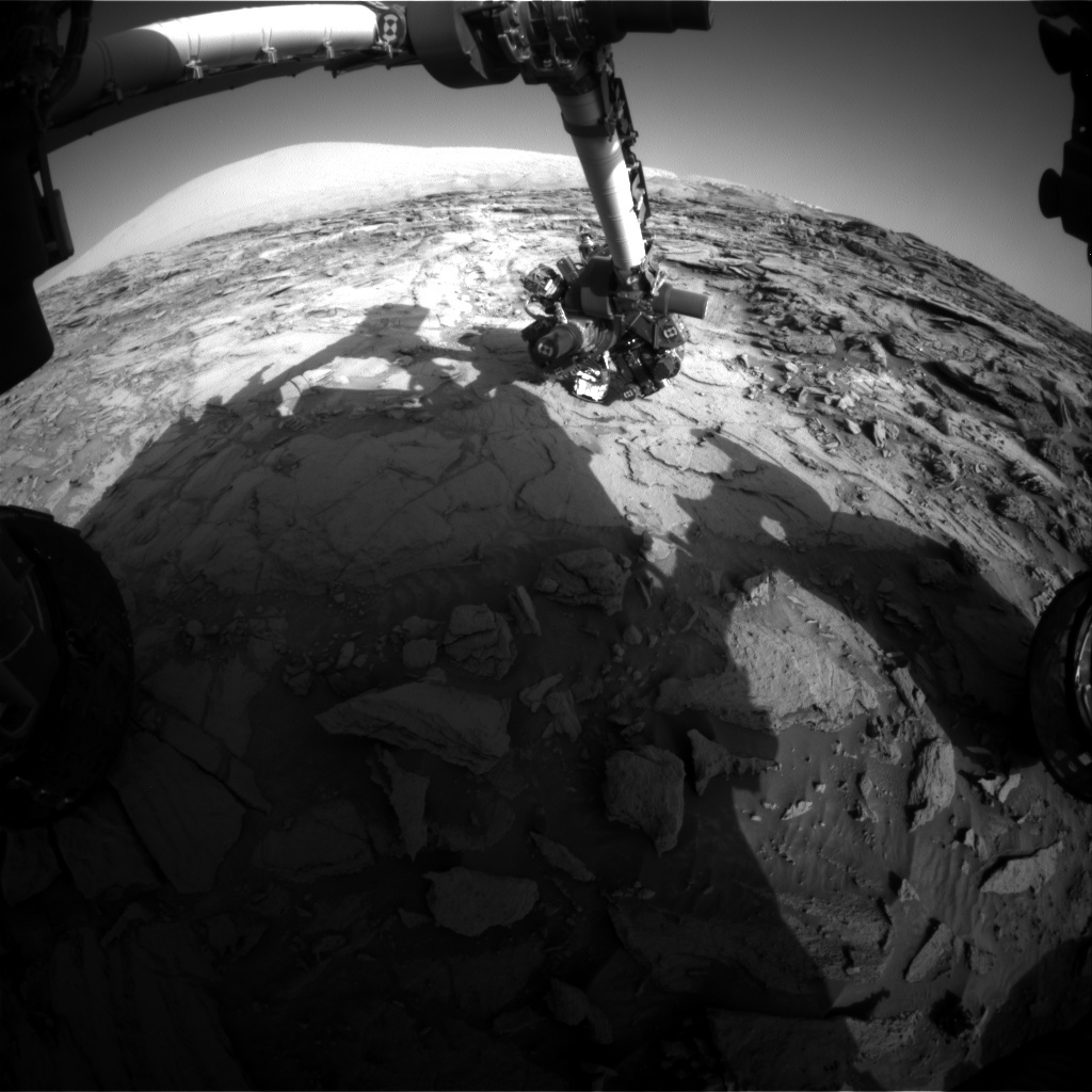 NASA's Mars rover Curiosity acquired this image using its Front Hazard Avoidance Cameras (Front Hazcams) on Sol 1124