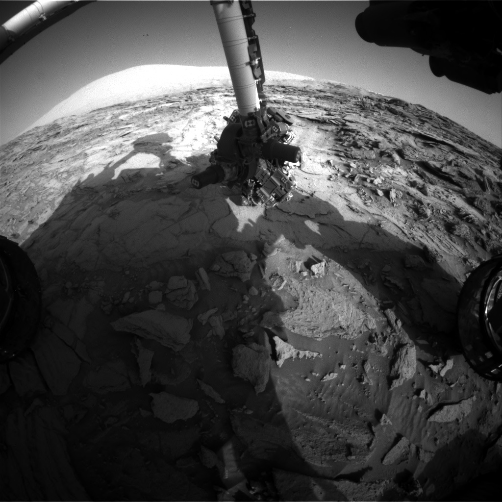 Nasa's Mars rover Curiosity acquired this image using its Front Hazard Avoidance Camera (Front Hazcam) on Sol 1124, at drive 592, site number 50