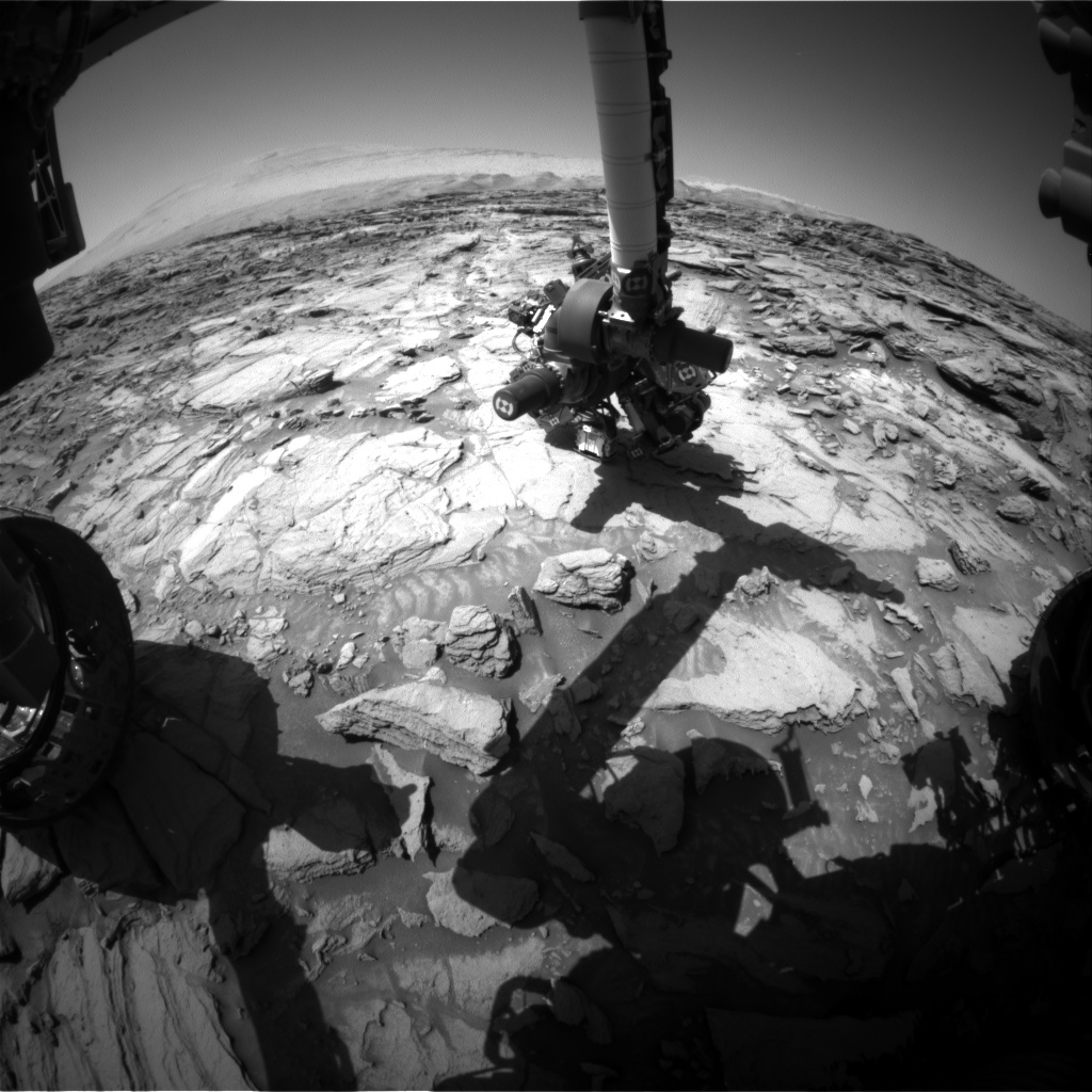 Nasa's Mars rover Curiosity acquired this image using its Front Hazard Avoidance Camera (Front Hazcam) on Sol 1125, at drive 592, site number 50