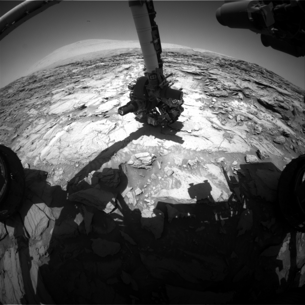 Nasa's Mars rover Curiosity acquired this image using its Front Hazard Avoidance Camera (Front Hazcam) on Sol 1127, at drive 592, site number 50