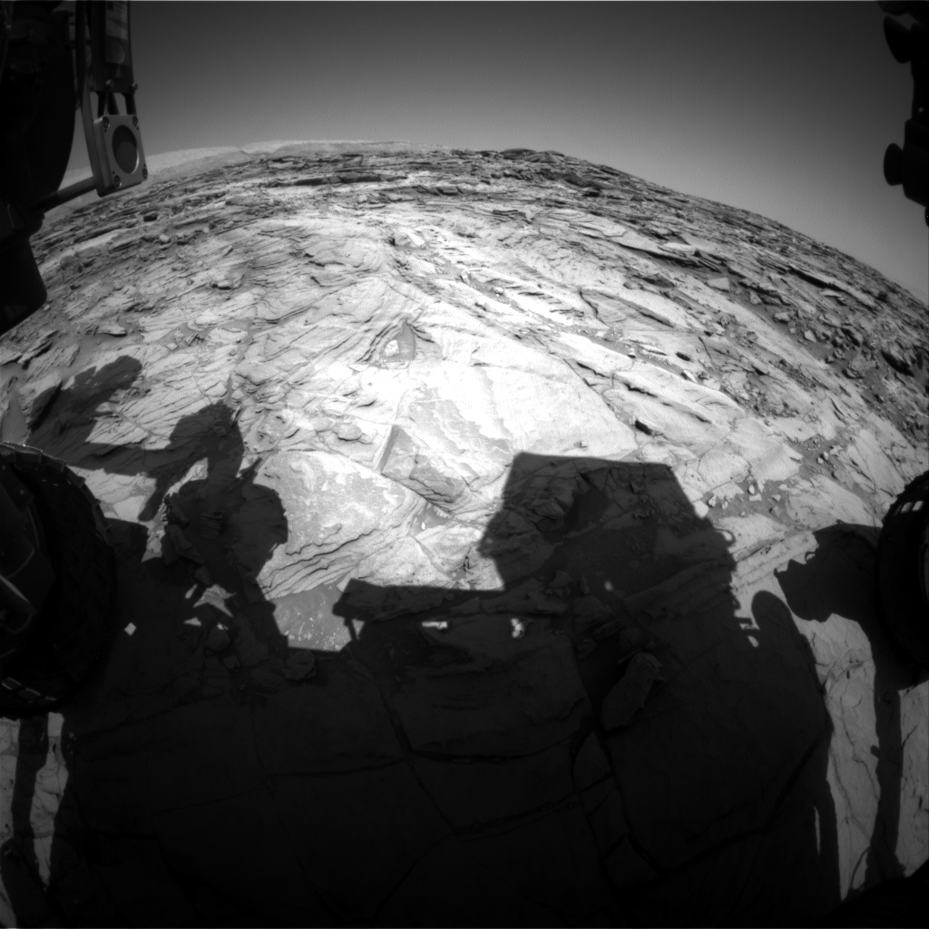 Nasa's Mars rover Curiosity acquired this image using its Front Hazard Avoidance Camera (Front Hazcam) on Sol 1129, at drive 676, site number 50