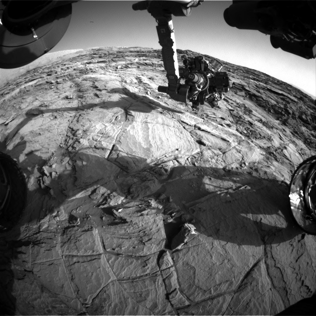 Nasa's Mars rover Curiosity acquired this image using its Front Hazard Avoidance Camera (Front Hazcam) on Sol 1130, at drive 676, site number 50