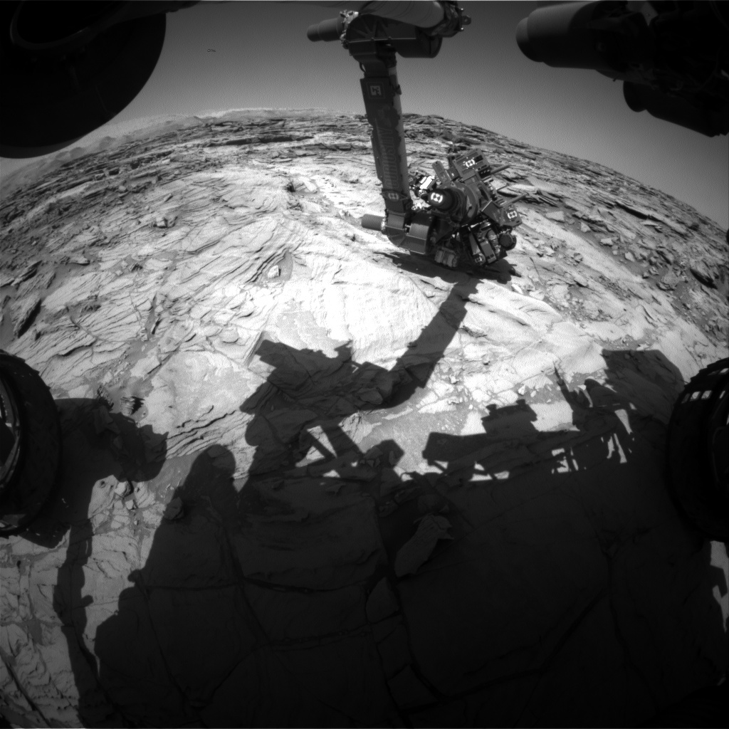 Nasa's Mars rover Curiosity acquired this image using its Front Hazard Avoidance Camera (Front Hazcam) on Sol 1132, at drive 676, site number 50