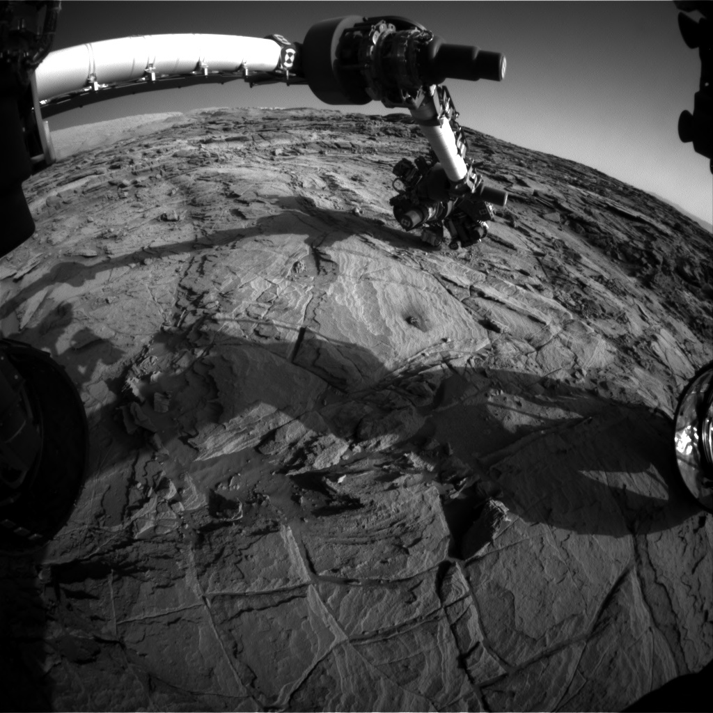 Nasa's Mars rover Curiosity acquired this image using its Front Hazard Avoidance Camera (Front Hazcam) on Sol 1143, at drive 676, site number 50