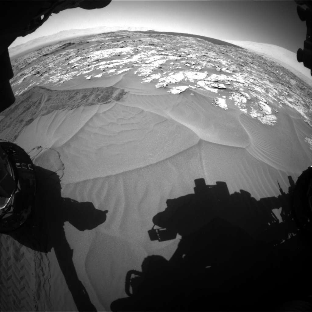 Nasa's Mars rover Curiosity acquired this image using its Front Hazard Avoidance Camera (Front Hazcam) on Sol 1185, at drive 1550, site number 51