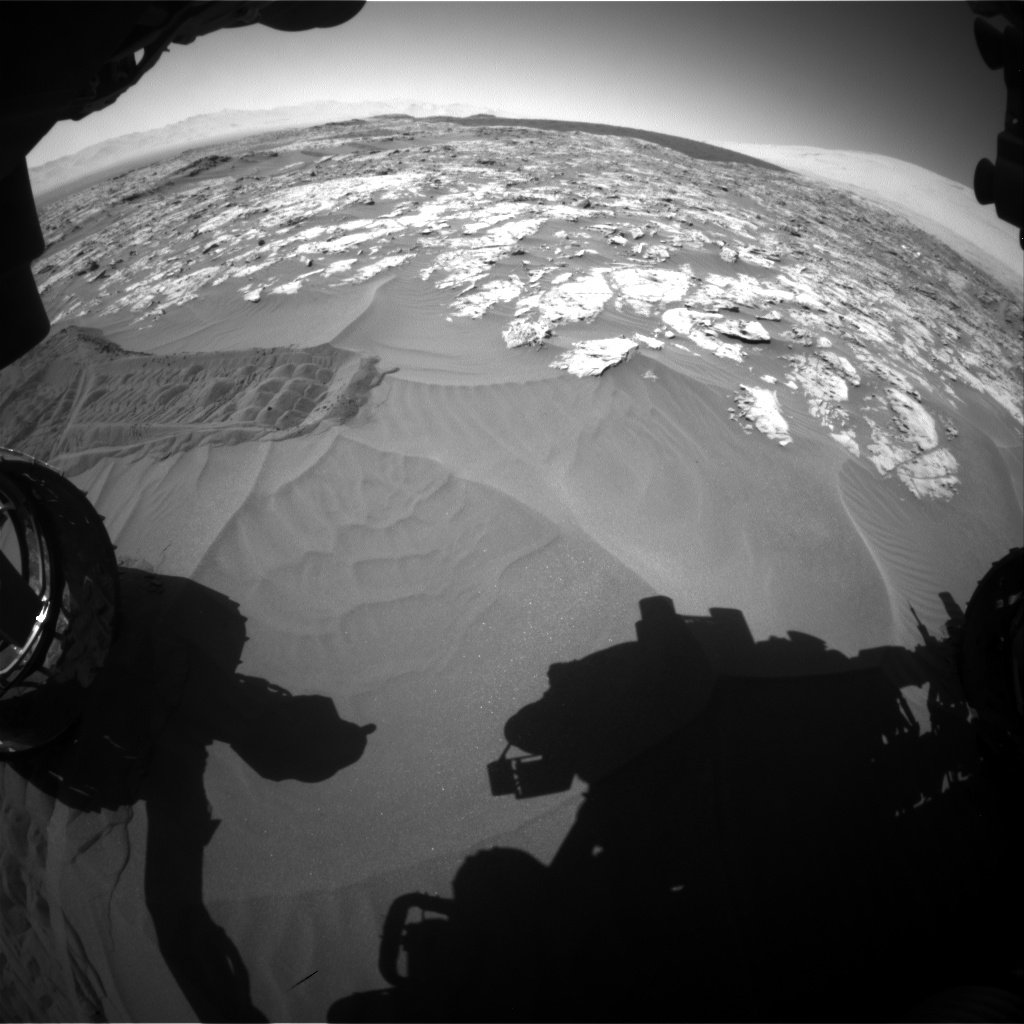 Nasa's Mars rover Curiosity acquired this image using its Front Hazard Avoidance Camera (Front Hazcam) on Sol 1185, at drive 1556, site number 51