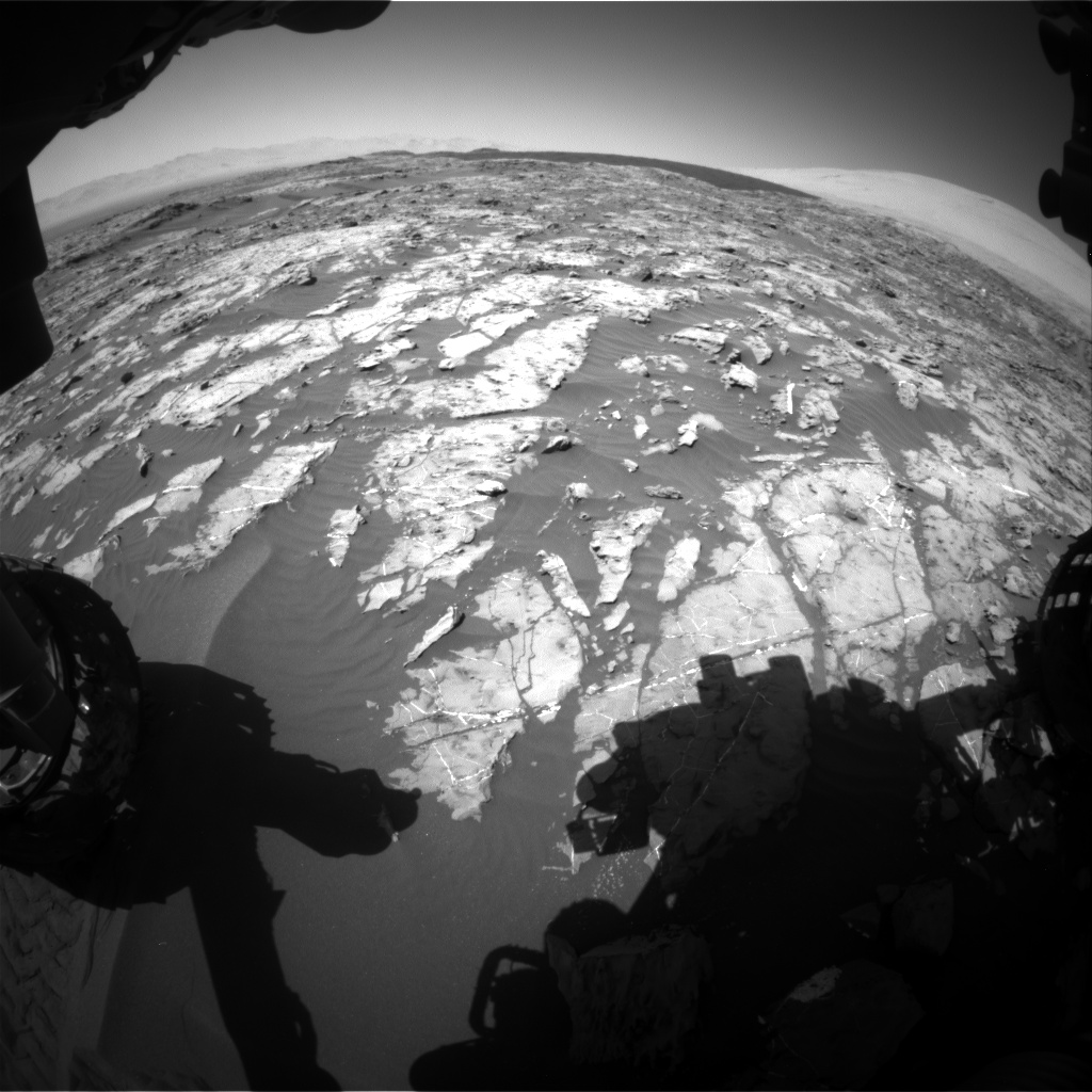 Nasa's Mars rover Curiosity acquired this image using its Front Hazard Avoidance Camera (Front Hazcam) on Sol 1185, at drive 1580, site number 51
