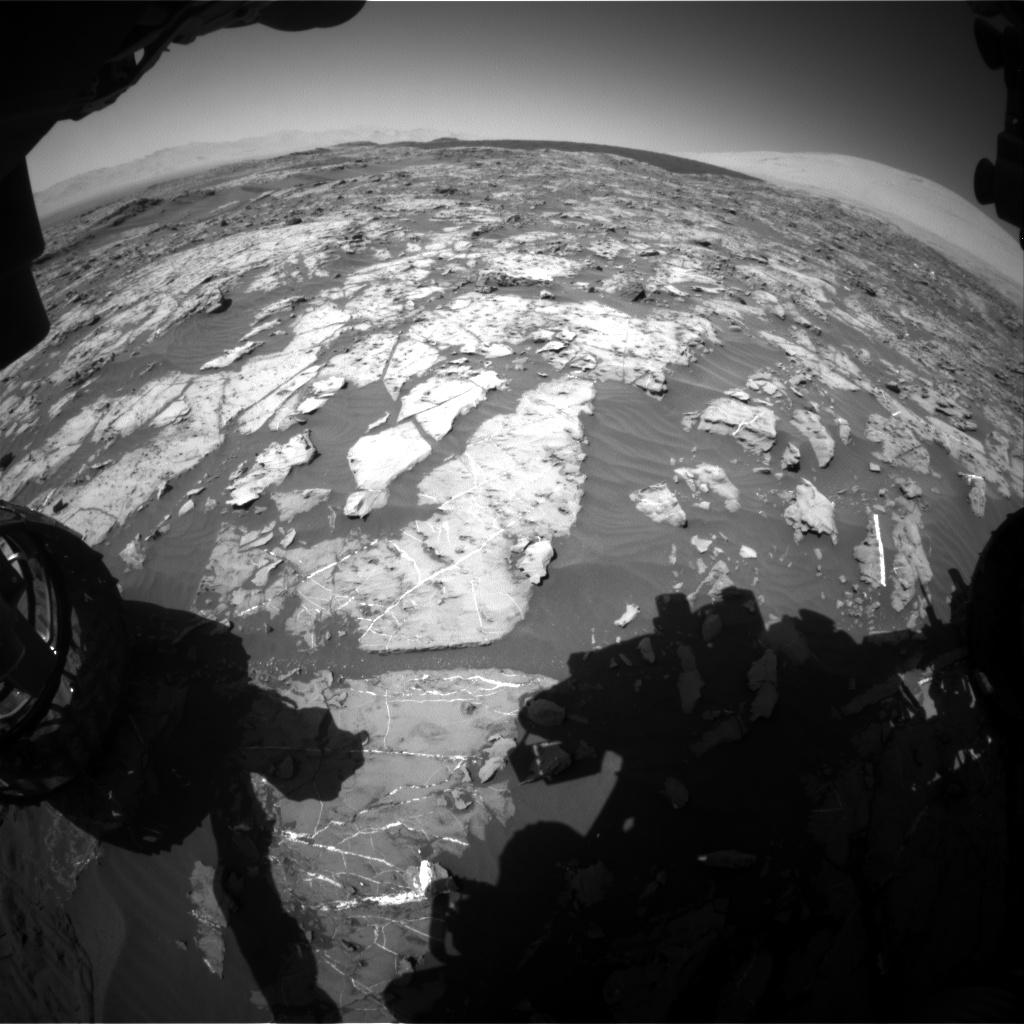 Nasa's Mars rover Curiosity acquired this image using its Front Hazard Avoidance Camera (Front Hazcam) on Sol 1185, at drive 1592, site number 51