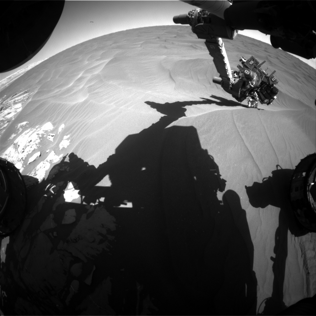 Nasa's Mars rover Curiosity acquired this image using its Front Hazard Avoidance Camera (Front Hazcam) on Sol 1185, at drive 1430, site number 51
