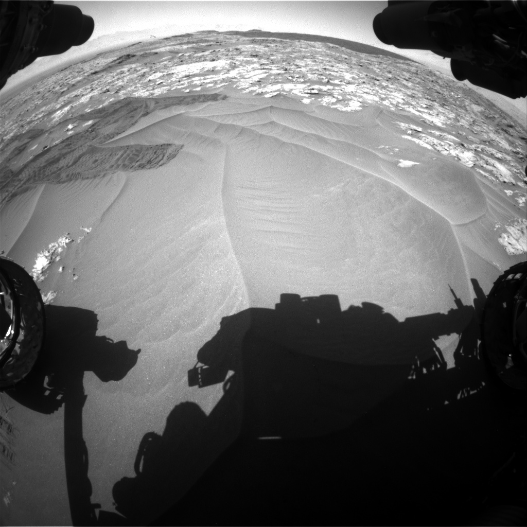 Nasa's Mars rover Curiosity acquired this image using its Front Hazard Avoidance Camera (Front Hazcam) on Sol 1185, at drive 1520, site number 51