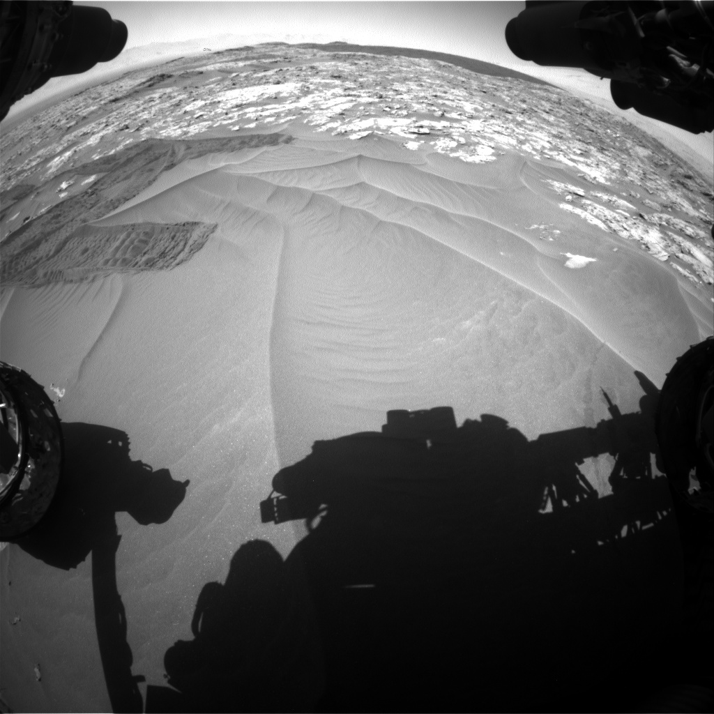 Nasa's Mars rover Curiosity acquired this image using its Front Hazard Avoidance Camera (Front Hazcam) on Sol 1185, at drive 1526, site number 51