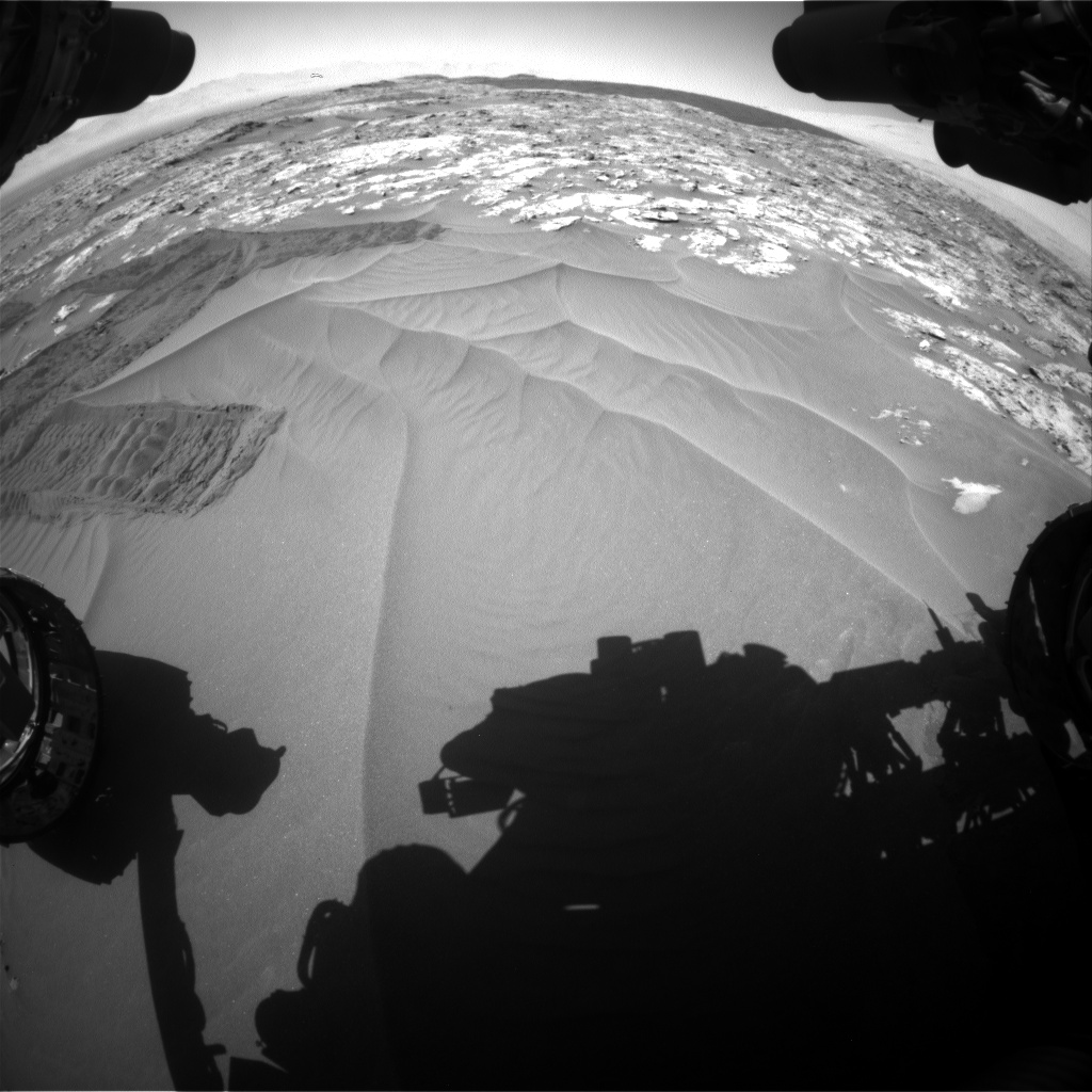 Nasa's Mars rover Curiosity acquired this image using its Front Hazard Avoidance Camera (Front Hazcam) on Sol 1185, at drive 1532, site number 51