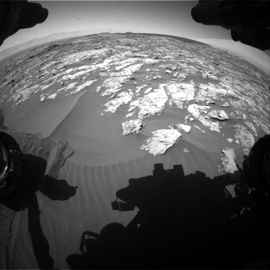 Nasa's Mars rover Curiosity acquired this image using its Front Hazard Avoidance Camera (Front Hazcam) on Sol 1185, at drive 1568, site number 51