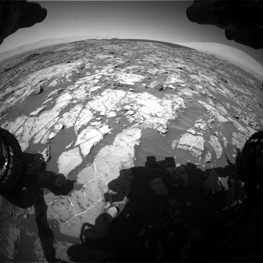 Nasa's Mars rover Curiosity acquired this image using its Front Hazard Avoidance Camera (Front Hazcam) on Sol 1185, at drive 1598, site number 51