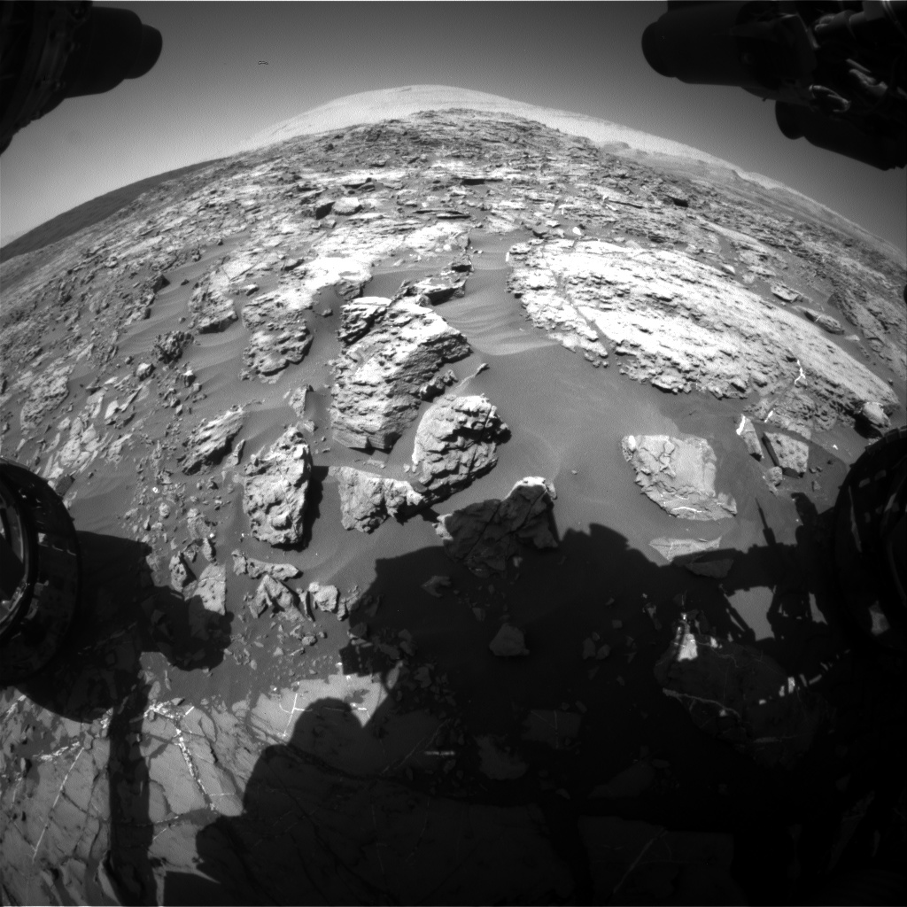Nasa's Mars rover Curiosity acquired this image using its Front Hazard Avoidance Camera (Front Hazcam) on Sol 1187, at drive 1800, site number 51