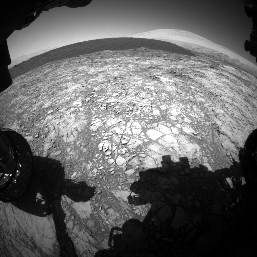 Nasa's Mars rover Curiosity acquired this image using its Front Hazard Avoidance Camera (Front Hazcam) on Sol 1189, at drive 2004, site number 51