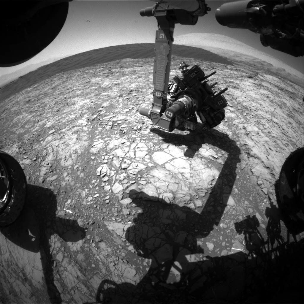 Nasa's Mars rover Curiosity acquired this image using its Front Hazard Avoidance Camera (Front Hazcam) on Sol 1192, at drive 2004, site number 51