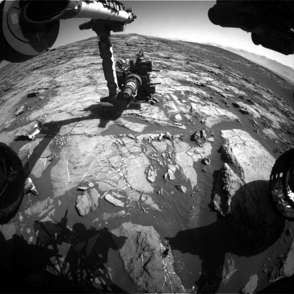 Nasa's Mars rover Curiosity acquired this image using its Front Hazard Avoidance Camera (Front Hazcam) on Sol 1201, at drive 0, site number 52