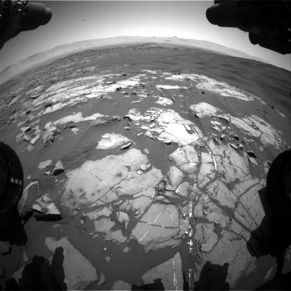 Nasa's Mars rover Curiosity acquired this image using its Front Hazard Avoidance Camera (Front Hazcam) on Sol 1220, at drive 936, site number 52