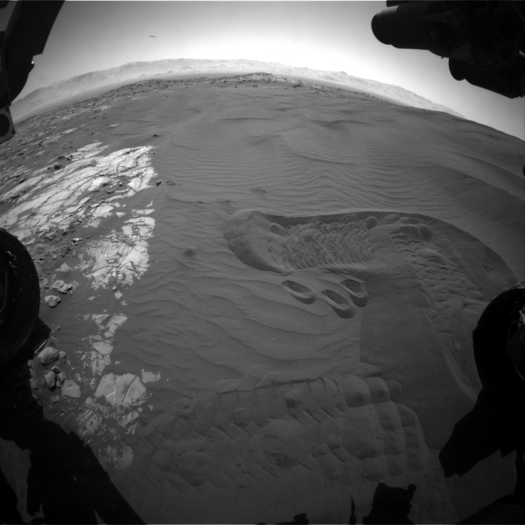 Nasa's Mars rover Curiosity acquired this image using its Front Hazard Avoidance Camera (Front Hazcam) on Sol 1232, at drive 1162, site number 52