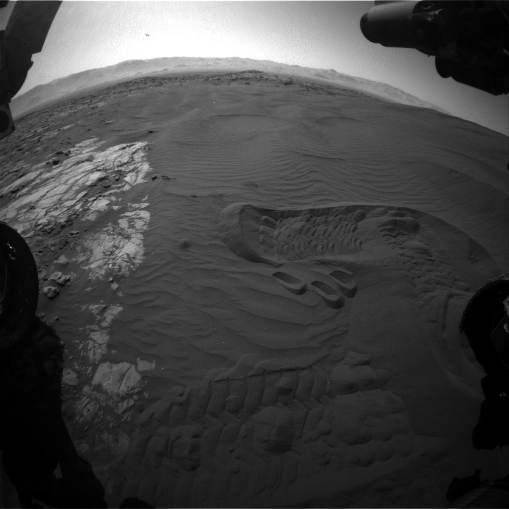 Nasa's Mars rover Curiosity acquired this image using its Front Hazard Avoidance Camera (Front Hazcam) on Sol 1235, at drive 1162, site number 52