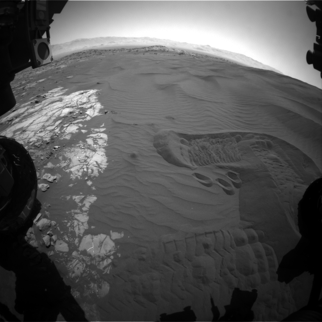 Nasa's Mars rover Curiosity acquired this image using its Front Hazard Avoidance Camera (Front Hazcam) on Sol 1238, at drive 1162, site number 52