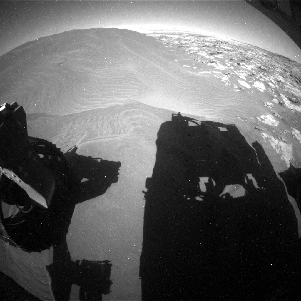 NASA's Mars rover Curiosity acquired this image using its Rear Hazard Avoidance Cameras (Rear Hazcams) on Sol 1240