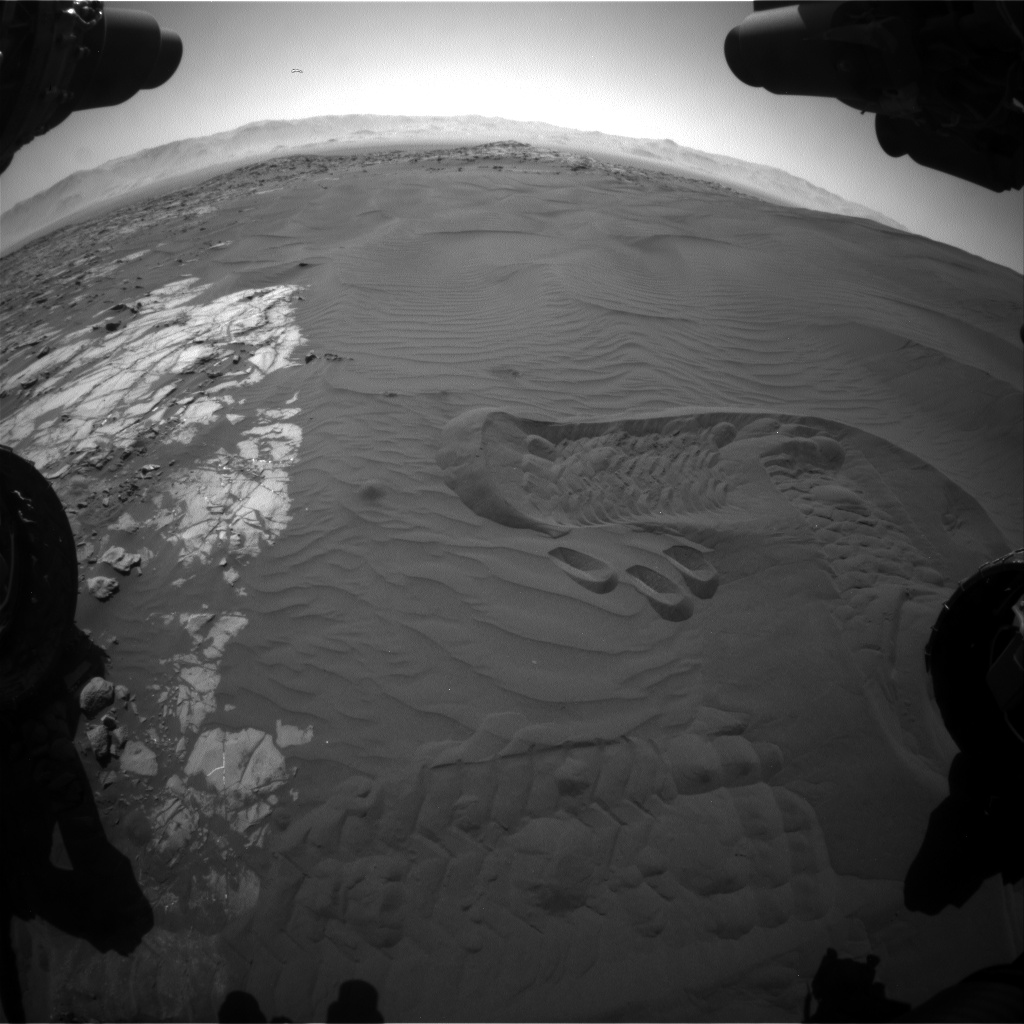 Nasa's Mars rover Curiosity acquired this image using its Front Hazard Avoidance Camera (Front Hazcam) on Sol 1243, at drive 1162, site number 52