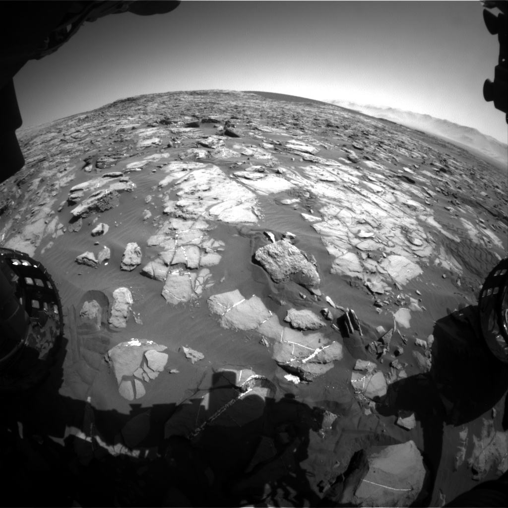 Nasa's Mars rover Curiosity acquired this image using its Front Hazard Avoidance Camera (Front Hazcam) on Sol 1244, at drive 1370, site number 52