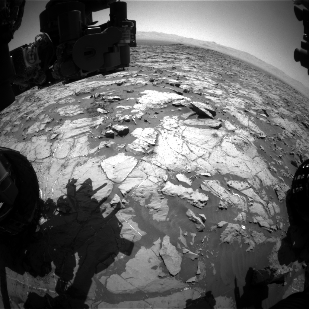 Nasa's Mars rover Curiosity acquired this image using its Front Hazard Avoidance Camera (Front Hazcam) on Sol 1253, at drive 2388, site number 52
