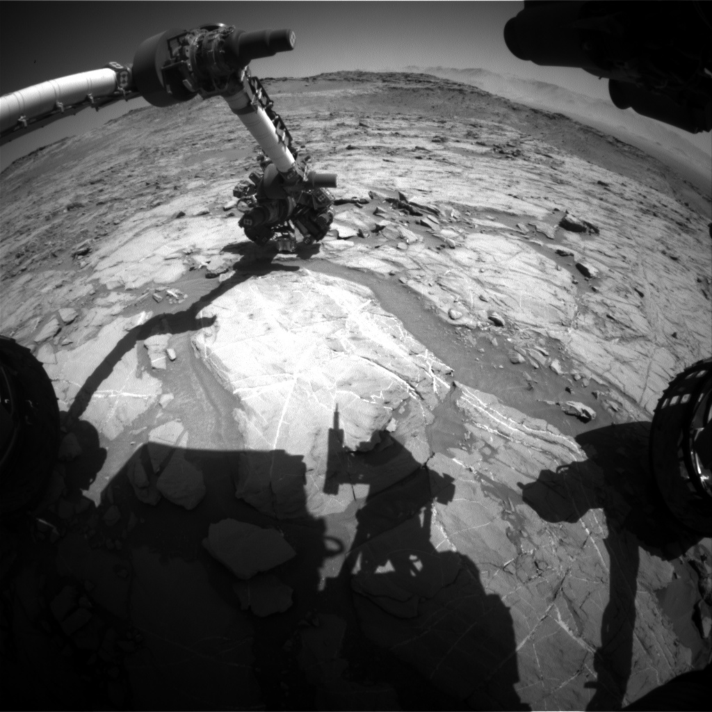 Nasa's Mars rover Curiosity acquired this image using its Front Hazard Avoidance Camera (Front Hazcam) on Sol 1267, at drive 186, site number 53